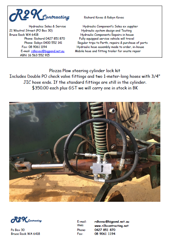 Plozza Plow Steering Cylinder Lock